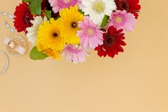 Flower bouquet wedding jewerly with room for text royalty free stock photo