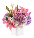 Flower bouquet in white ceramic pot Royalty Free Stock Photos