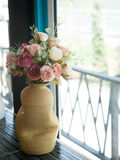 Flower bouquet in white jug on table Royalty Free Stock Photo