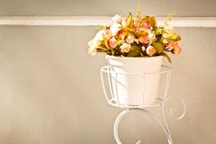Flower bouquet on white wall background. Vintage Royalty Free Stock Photo
