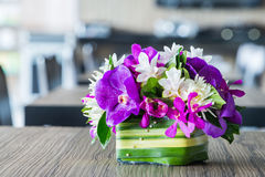 Flower bouquet on wood table Stock Photo