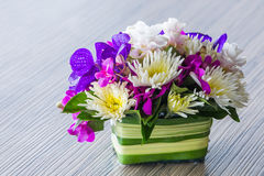 Flower bouquet on wood table Stock Photography