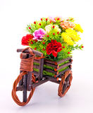 Flower bouquet in wooden basket Stock Photos