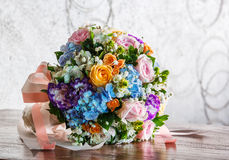 Flower bouquet on wooden table Royalty Free Stock Photo