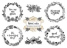 Flower bouquets, wreaths with inspirational quotes. Floral botan royalty free illustration