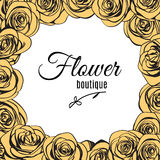 Flower boutique logo template in ivory roses frame. Vector Royalty Free Stock Photo