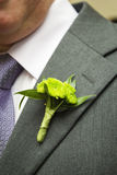 Flower boutonniere on the lapel Stock Images