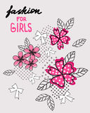 Flower and bow. T-shirt design. Fashion for girls. Royalty Free Stock Photos