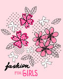 Flower and bow. T-shirt design. Fashion for girls. Stock Photos