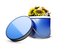 Flower box with flowers. 3d illustration, isolated white Royalty Free Stock Photos