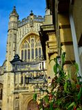 Flower Box outside of Cathedral in Bath. England stock images