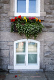 Flower box street scene of Old Quebec Royalty Free Stock Image