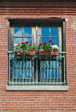 Flower box at window red brick wall on sunny day sky reflections Royalty Free Stock Image