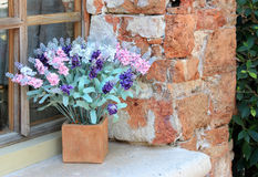 Flower box in window Royalty Free Stock Images