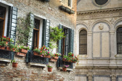 Flower box, Venice, Italy Royalty Free Stock Images