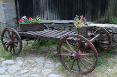 Flower Boxes on the Cart Royalty Free Stock Photo