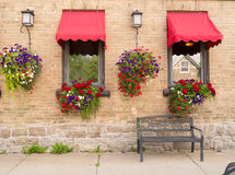 Flower boxes and hanging plants. Beautiful flower boxes and hanging plants on a yellow brick wall along a sidewalk Royalty Free Stock Photo