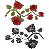 Flower branch roses. Set of red and black  branches. Floral print.  Royalty Free Stock Photography