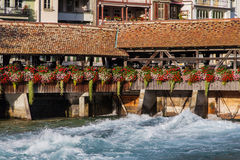 Flower bridge in Thun Royalty Free Stock Photo