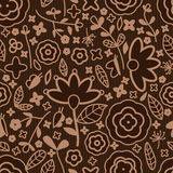 Flower brown color fabric seamless pattern Royalty Free Stock Image