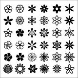Flower bud shapes. Black and white abstract flower bud shapes Royalty Free Stock Photos