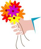 Flower bunch. Isolated line art work of flower bunch Royalty Free Stock Photography