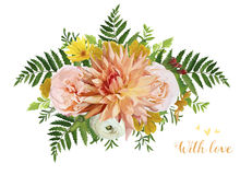 Flower bunch airy wreath bouquet of garden yellow primrose orang. E Dahlia red calendula flowers forest fern green leaf eucalyptus greenery mix. Wedding trendy Stock Photography
