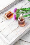 Flower and burdock extract Royalty Free Stock Photos