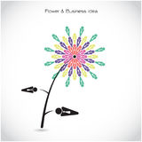 Flower and business teamwork cooperation sign. Together union sy Royalty Free Stock Photography