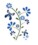 Flower and butterflies. Simple illustration of blue flower with butterflies royalty free illustration