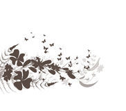 Flower and butterflies black background Design Royalty Free Stock Photo