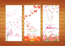 Flower and butterflies Mother's Day Cards Royalty Free Stock Images