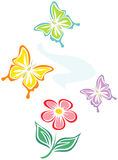 Flower and butterflies (Vector) Stock Photography