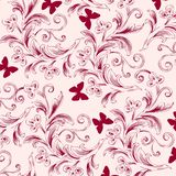 Flower butterfly background pattern abstarct. Dark red royalty free illustration