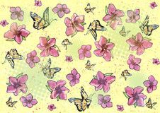Flower & butterfly background - yellow Royalty Free Stock Images