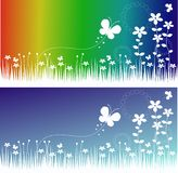 Flower and butterfly banners. With two different backgrounds Royalty Free Stock Photo