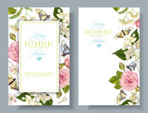 Flower butterfly banners Royalty Free Stock Images