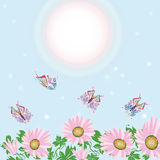 FLOWER  AND BUTTERFLY CARD Stock Photo