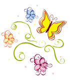 Flower and butterfly decoration Royalty Free Stock Photography