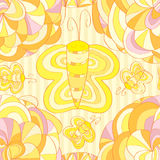 Flower butterfly draw seamless pattern Stock Images