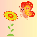 Flower and Butterfly Illustration on Pink Background. Flower and butterfly cartoon illustrations on pink background, yellow flower, red flower, green leaves Stock Images