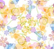 Flower and Butterfly Pattern. A soft pastel colored background texture pattern of butterflies and flowers in gold yellows, purples, blues Stock Images