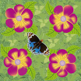 Flower and butterfly seamless pattern. Stock Photography