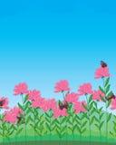 Flower butterfly sky landscape Stock Photo