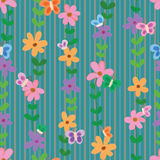 Flower butterfly vertical seamless pattern Stock Photography