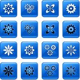 Flower buttons. Collection of blue square floral rollover buttons Stock Photography