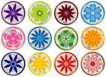 Flower Buttons or Icons Stock Images