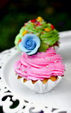 Flower cake. Cookies cake with blue frower as decorated Royalty Free Stock Photos