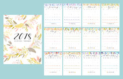 2018 flower calendar. Floral bright 2018 calendar. Flower decorative elegant calendar Royalty Free Stock Image
