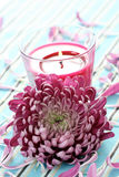 Flower and candle Stock Photo